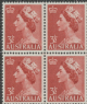 AUS SG262a 3½d Queen Elizabeth II brown-red definitive no wmk block of 4